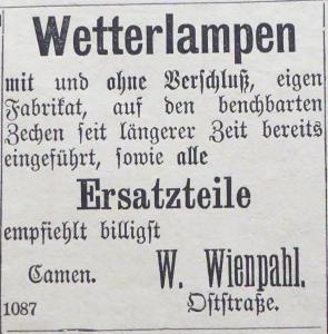Abb. 7a Annonce Wienpahl 19.11.1882